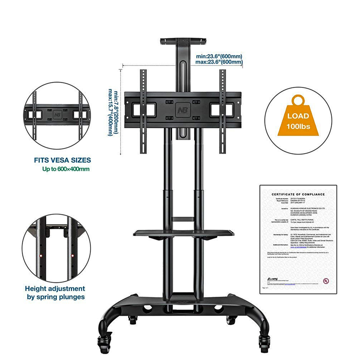 Adjustable Mobile TV Cart Stand w// Wheels Shelf for 32/'/' 65/'/' LCD Plasma Screen