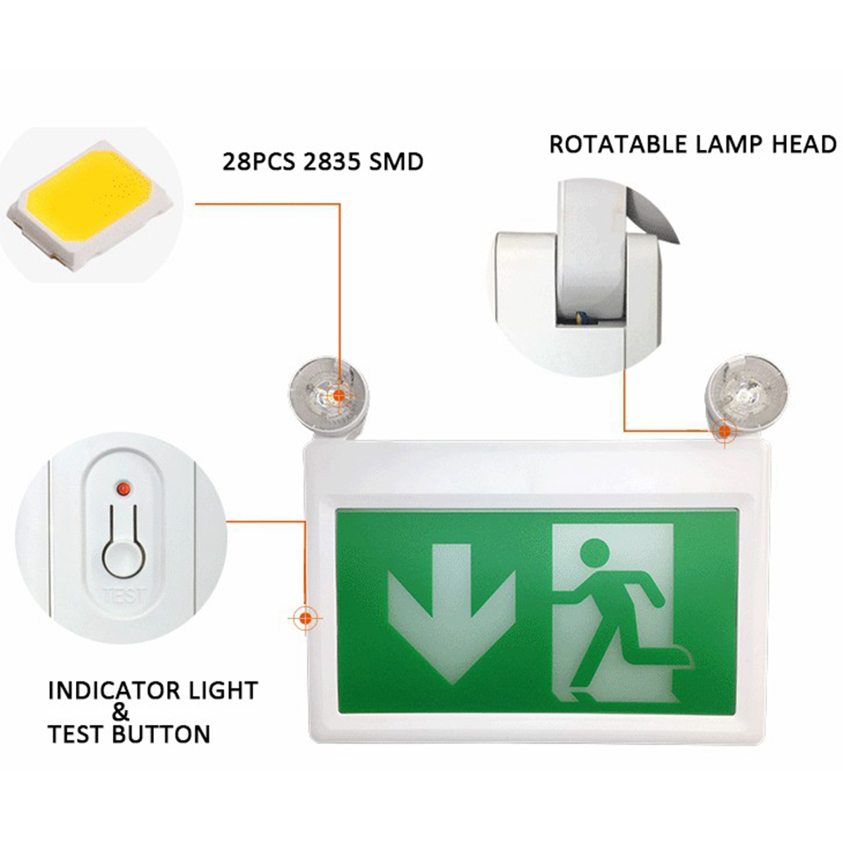 Standard-LED-Exit-Sign-Light-with-Dual-Emergency-Light-Running-Man-and-Arrow thumbnail 9